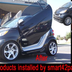 Smart 451 With Vertical Lambo Doors, Body Kit, And Wheels