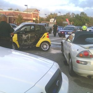 Smart In Wreck With Mitsubishi Spyder