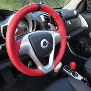 Red Leather Steering Wheel And Shift Knob